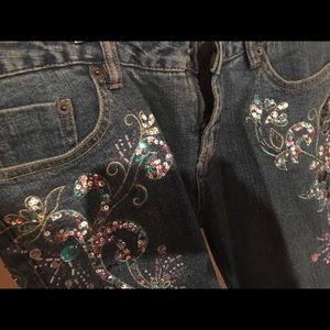 Rhinestone sequined blue jeans